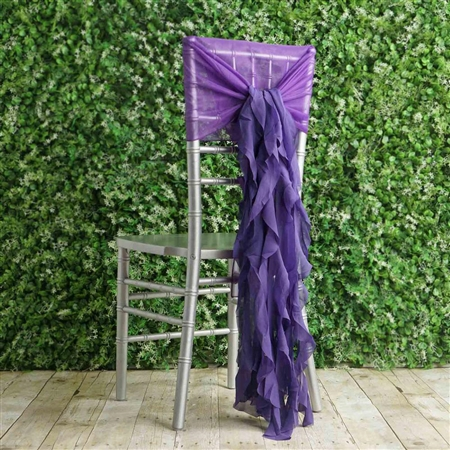 Purple Chiffon Hoods With Curly Willow Chiffon Chair Sashes