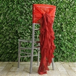 Red Chiffon Hoods With Curly Willow Chiffon Chair Sashes