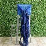 Royal Blue Chiffon Hoods With Curly Willow Chiffon Chair Sashes