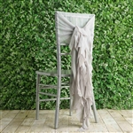 Silver Chiffon Hoods With Curly Willow Chiffon Chair Sashes