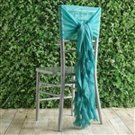 Turquoise Chiffon Hoods With Curly Willow Chiffon Chair Sashes