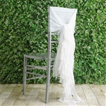 White Chiffon Hoods With Curly Willow Chiffon Chair Sashes