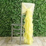 Yellow Chiffon Hoods With Curly Willow Chiffon Chair Sashes