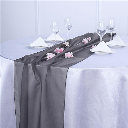 6FT Charcoal Gray Premium Chiffon Table Runner