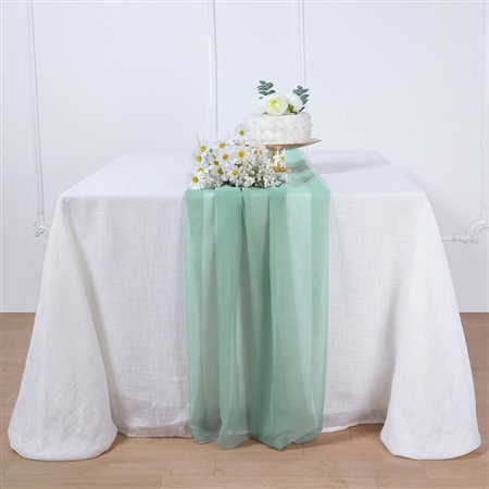 6FT Beige Premium Chiffon Table Runner