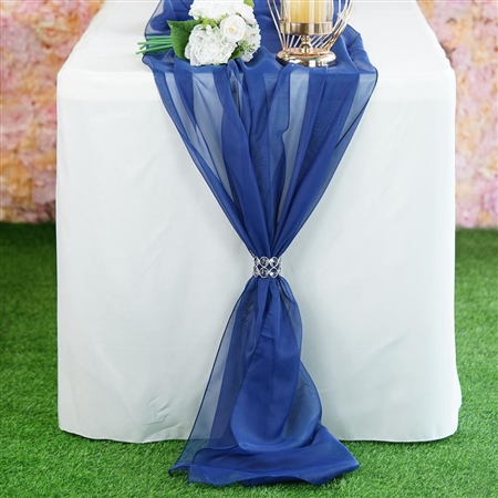 6FT Navy Blue Premium Chiffon Table Runner