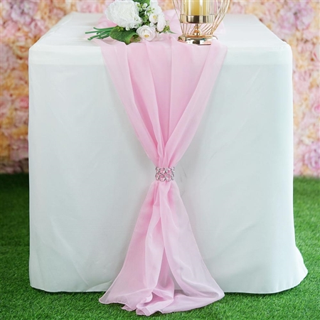 6FT Pink Premium Chiffon Table Runner
