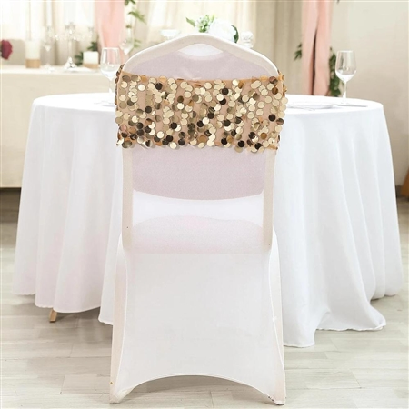 Big Payette Sequin Round Chair Sashes - 5 Pack - Gold