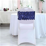 Big Payette Sequin Round Chair Sashes - 5 Pack - Navy Blue