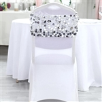 Big Payette Sequin Round Chair Sashes - 5 Pack - Silver