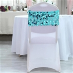 Big Payette Sequin Round Chair Sashes - 5 Pack - Turquoise