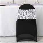 Big Payette Sequin Round Chair Sashes - 5 Pack - White
