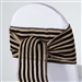 Stripe Rustic Burlap Chair Sash - Natural Tone w/ Black