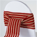 Stripe Rustic Burlap Chair Sash - Natural Tone w/ Red