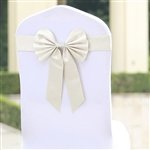 Ivory Satin & Faux Leather Reversible Chair Sashes with Buckle - 5 Pack