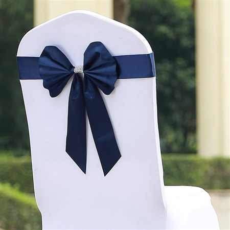 Navy Blue Satin & Faux Leather Reversible Chair Sashes with Buckle - 5 Pack