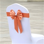 Orange Satin & Faux Leather Reversible Chair Sashes with Buckle - 5 Pack