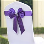 Purple Satin & Faux Leather Reversible Chair Sashes with Buckle - 5 Pack