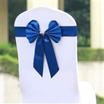 Royal Blue Satin & Faux Leather Reversible Chair Sashes with Buckle - 5 Pack