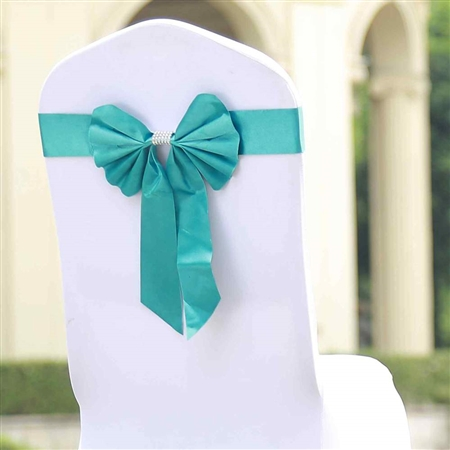 Turquoise Satin & Faux Leather Reversible Chair Sashes with Buckle - 5 Pack
