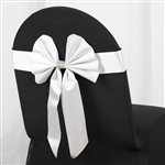 White Satin & Faux Leather Reversible Chair Sashes with Buckle - 5 Pack
