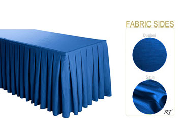 Satin / Dupioni Box Pleat Table Skirt - 6FT  (3 Sides Covered) - 11FT Section