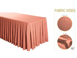 Satin / Dupioni Box Pleat Table Skirt - 6FT  (4 Sides Covered) - 17FT Section