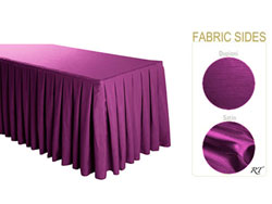 Satin / Dupioni Box Pleat Table Skirt - 8FT  (3 Sides Covered) - 13FT Section