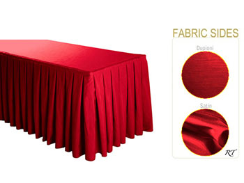 Satin / Dupioni Box Pleat Table Skirt - 8FT  (4 Sides Covered) - 21FT Section