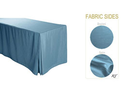 "4FT Satin / Dupioni Rectangular Fitted Tablecloth 30""x48""x29"" with Inverted Pleates"