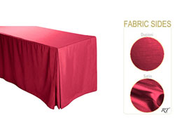 "6FT Satin / Dupioni Rectangular Fitted Tablecloth 30""x72""x29"" with Inverted Pleates"