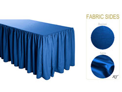 Satin / Dupioni Shirred Table Skirt - 6FT  (3 Sides Covered) - 11FT Section