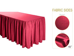 Satin / Dupioni Shirred Table Skirt - 6FT  (4 Sides Covered) - 17FT Section