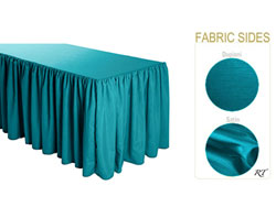 Satin / Dupioni Shirred Table Skirt - 8FT  (3 Sides Covered) - 13FT Section