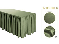 Satin / Dupioni Shirred Table Skirt - 8FT  (4 Sides Covered) - 21FT Section