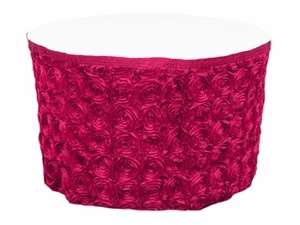 Fushia Grandiose Rosette Table Skirt- 17Ft
