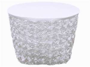 White Grandiose Rosette Table Skirt- 14Ft