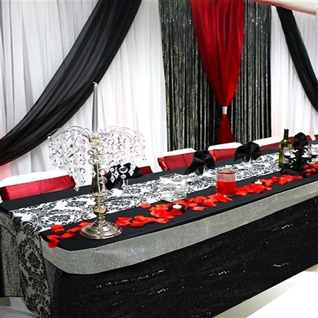 Wholesale Wedding Party Glitzy Sequin Table Skirt - Black - 21FT