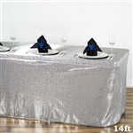 Wholesale Wedding Party Glitzy Sequin Table Skirt - Silver - 14FT
