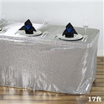 Wholesale Wedding Party Glitzy Sequin Table Skirt - Silver - 17FT