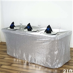 Wholesale Wedding Party Glitzy Sequin Table Skirt - Silver - 21FT