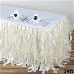 14ft Enchanting Curly Willow Taffeta Table Skirt - Ivory