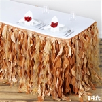 14ft Enchanting Curly Willow Taffeta Table Skirt - Gold