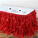 14ft Enchanting Curly Willow Taffeta Table Skirt - Red