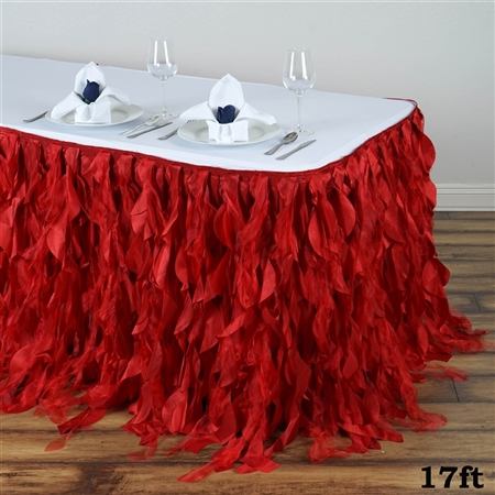 17ft Enchanting Curly Willow Taffeta Table Skirt - Red