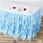 14ft Enchanting Curly Willow Taffeta Table Skirt - Serenity Blue