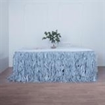 17ft Enchanting Curly Willow Taffeta Table Skirt - Dusty Blue