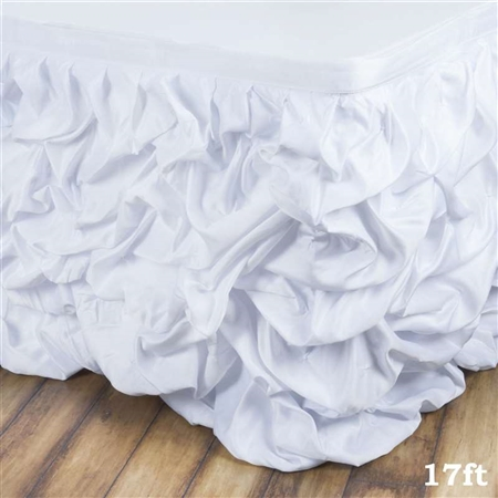 White Chambury Casa Chic Miteux Lamour Table Skirt - 17ft