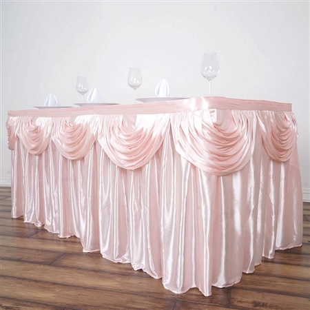 Blush Double Drape Table Skirt / Satin - 14ft