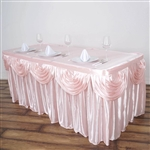 Blush Double Drape Table Skirt / Satin - 21ft